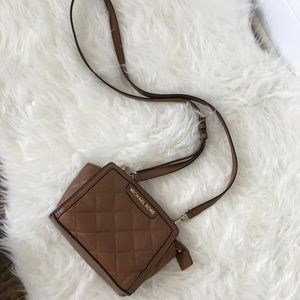 MICHAEL KORS Brown Quilted Checker Purse
